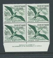 Christmas Island 1963 Pictorial Definitives 50c Frigate Bird Imprint Block Of 4 MNH - Christmas Island