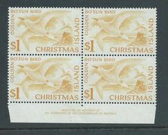 Christmas Island 1963 Pictorial Definitives $1 Bosun Bird Imprint Block Of 4 MNH - Christmas Island