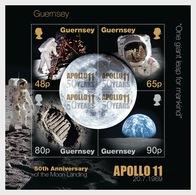 Guernsey 2019 - 50th Anniversary Of The Moon Landings Miniature Sheet Mnh - Guernsey