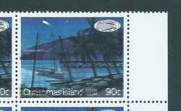 Christmas Island 1986 90c Halleys Comet Variety Black Colour Shift With Doubled Masts And Rigging Marginal MNH - Christmas Island