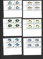 Christmas Island 1968 Fish Definitives Set 12 In Marginal Corner Blocks Of 4 MNH - Christmas Island
