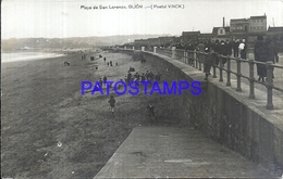 116237 SPAIN ESPAÑA GIJON ASTURIAS BEACH PLAYA DE SAN LORENZO POSTAL POSTCARD - Espagne