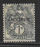 Andorra Scott # 1 Mint Hinged France Stamp Overprinted, 1931 - French Andorra