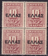 CRETE 1910 Official Stamps Issue 10 L Brownoverprinted With Large ELLAS Vl. L 5 In MNH Block Of 4 - Kreta