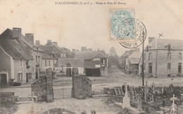 Rare Cpa Pleugueneuc Place Et Rue Du Bourg - Altri Comuni