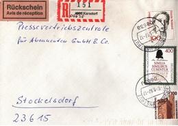 ! 1 Einschreiben Mit Rückschein, R-Zettel, 1997 Aus 06638 Karsdorf An Der Unstrut, Handschriftlich Neue Postleitzahl - BRD
