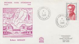 Enveloppe   FDC   1er  Jour   T.A.A.F   Robert   GESSAIN   1988 - FDC