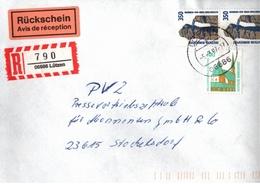 ! 1 Einschreiben Mit Rückschein, R-Zettel, 1997 Aus 06686 Lützen, Neue Postleitzahl - BRD