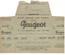 20108 - Bon Pour Un Essai Chez PEUGEOT - 1921-1960: Periodo Moderno