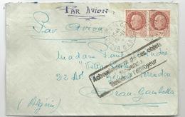PETAIN 1FR50 PAIRE LETTRE AVION BAGNOLS GARD 10.11.1942 POUR ALGERIE ACHEMINEMENTS DE CES OBJETS SUSPENDU RETOUR - 1941-42 Pétain