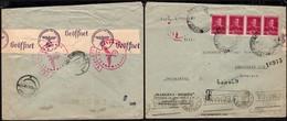 Romania - Double Censored Reg. Cover, 'MARGINA-RESITA'. Of. Autorizat Margina 12.10.1943 - Jablunkau, Germany. - 2. Weltkrieg (Briefe)