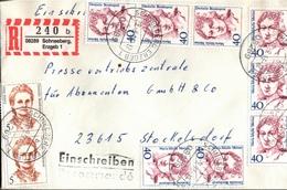 ! 1 Einschreiben Mit  R-Zettel, 1993 Aus 08289 Schneeberg Im Erzgebirge, Neue Postleitzahl, Dauerserie Frauen - [7] Repubblica Federale