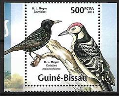 GUINEA - BISSAU - 2013 -MNH -    Common Starling    Sturnus Vulgaris +  Lesser Spotted Woodpecker    Dryobates Minor - Altri