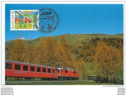 """80 - 74 - Carte Suisse Chemins De Fer Rhétiques Avec Timbre Et Oblit Spéciale """"100ème Anniversaire"""" 1989 - Trenes"""