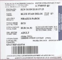 GREECE - 2018   PIRAEOS - PAROS -  Ticket For Boat Trip  -voyage En Bateau - Inschepingsbiljetten