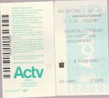 ITALIA - VENEZIA - VENICE - 1998 -  2 X Ticket For Boat Trip  Voyage En Bateau - Inschepingsbiljetten