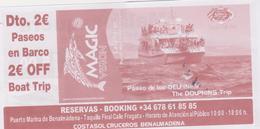 SPAIN-ESPAGNE -SPANIEN - COSTASOL - 2 X  Ticket For Boat Trip -voyage En Bateau   2 Scans - Inschepingsbiljetten