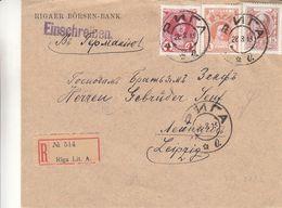 Russie - Lettonie - Lettre Recom De 1913 - Oblit Riga - Exp Vers Leipzig - - Lettres & Documents