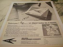 ANCIENNE PUBLICITE PARIS - LYON  AIR INTER 1966 - Advertisements