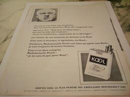 ANCIENNE PUBLICITE MA SECRETAIRE ET  CIGARETTE KOOL 1966 - Tabac (objets Liés)