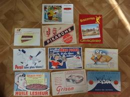 BUVARD BLOTTING PAPER  LOT DE 10 ALIMENTATION BONBONS GÂTEAU BISCOTTES EAU MARCHE VIC  SUR CERE PANHARD - Colecciones & Series