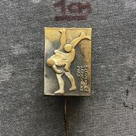 Badge Pin ZN008651 - Wrestling SZZ Czechoslovakia Federation Association Union - Lucha