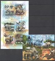 Y1259 2011 MOZAMBIQUE MOCAMBIQUE FAUNA ANIMALS RHINO RINOCERONTES 1SH+1BL MNH - Rhinozerosse