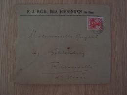 ENVELOPPE F.J BECK NOTAR HIRSINGEN OBER-ELSASS - Lettres & Documents