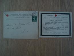 ENVELOPPE + DOCUMENT CROIX ROUGE FRANCAISE ASSOCIATION DES DAMES FRANCAISE 1916 - Marcophilie (Lettres)