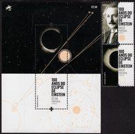 Portugal - 2019 - Centenary Of Albert Einstein Solar Eclipse - Mint Stamp Set + Souvenir Sheet - 1910-... République