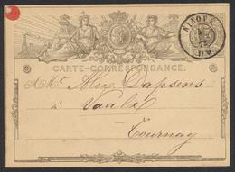 """EP Au Type 5ctm Gris """"carte-correspondance"""" Obl Double Cercle """"Ninove"""" (1872) Vers Tournay / Pli - Cartes Postales [1871-09]"""