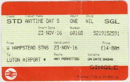 Great Britain-  Railway Ticket- 2016 ---HAMPSTEAD STNS - LUTON AIRPORT - Spoorwegen