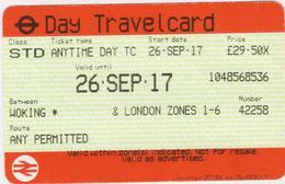 Great Britain-  Railway Ticket- 2017 -Woking-London Zones 1-6 - Spoorwegen