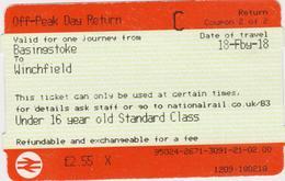 Great Britain-  Railway Ticket- 2018 -Basingstoke - Winchfield - Spoorwegen