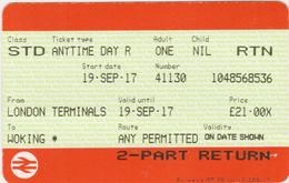 Great Britain-   2 Railway Tickets --London Terminals To Woking  And Woking To London Terminals -4 Scans - Spoorwegen