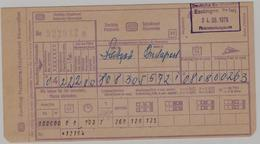Railway International Reservation (Supplement,Platzcarte) 1979 - Route Stuttgart--Budapest  (2 Scans) - Spoorwegen