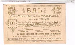 PARIS 17° Bal Des Ouvriers En Voiture Le 27.11 1897 39bis Avenue Wagram Ca525 - Distrito: 17