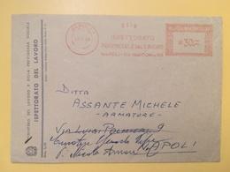 1964 BUSTA INTESTATA ITALIA ITALY  AFFRANCATURA MECCANICA ROSSA ISPETTORATO DEL LAVORO ANNULLO NAPOLI - Affrancature Meccaniche Rosse (EMA)