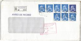 OURENSE CC CERTIFICADA 1992 SELLOS BASICA AL DORSO ACUSE DE RECIBO - 1931-Hoy: 2ª República - ... Juan Carlos I