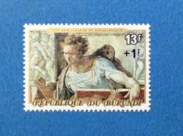 1975 BURUNDI MICHELANGELO CAPPELLA SISTINA 13 F + 1 F FRANCOBOLLO NUOVO STAMP NEW MNH** - Burundi