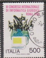 Italy Republic S 1643 1983 3rd Intern.Congress Of Jurisdicial Information ,used - 6. 1946-.. Republic