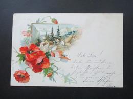 Österreich Um 1900 AK / Gemalte Blumen Und Berglandschaft Strichstempel Graz Bahnhof - Blumen