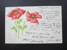 Österreich 1900 AK / Gemalte Blumen Mit Kleinen Perlen Auf Der Blüte Strichstempel Graz Mattighofen - Blumen