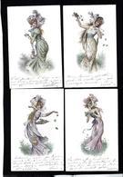 CPA Série De 4 Cartes Femme Girl Woman Art Nouveau - Mujeres