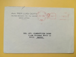 1985 BUSTA INTESTATA ITALIA ITALY  AFFRANCATURA MECCANICA ROSSA  ANNULLO LATINA - Affrancature Meccaniche Rosse (EMA)