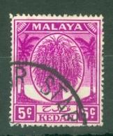 Malaya - Kedah: 1950/55   Sheaf Of Rice     SG79a    5c   Bright Mauve   Used - Kedah