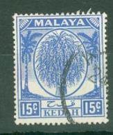 Malaya - Kedah: 1950/55   Sheaf Of Rice     SG83    15c     Used - Kedah