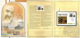 Padre Pio Santo - Folder Ufficiale 2002 - Lamina D'Oro - Celebrità