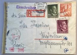 GENERALGOUVERNEMENT PRZEMYSL 1944 Bahnpost R-Zettel München + OKW Zensur > Schweiz (Brief GG Poland D.R Ganzsache Krakau - Besetzungen 1938-45