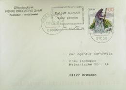 "BRD: Brf MiF-Teilbar Mit ""Taxe Perqu""-Stpl.  über 0,10 DM OSt. Dresden 18.11.97, Kurzzeitige Notmaßn. Nach Portoerhöhung - Storia Postale"